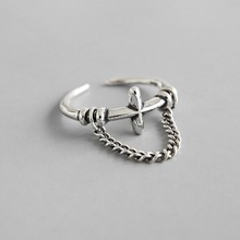 Pure S925 Sterling Silver Rings Cross with Chain Open Ring Punk Vintage Finger Ring 925 Silver Jewelry for Female Ring s925 pure silver vintage ring men s personality gold wings patron saint silver ring