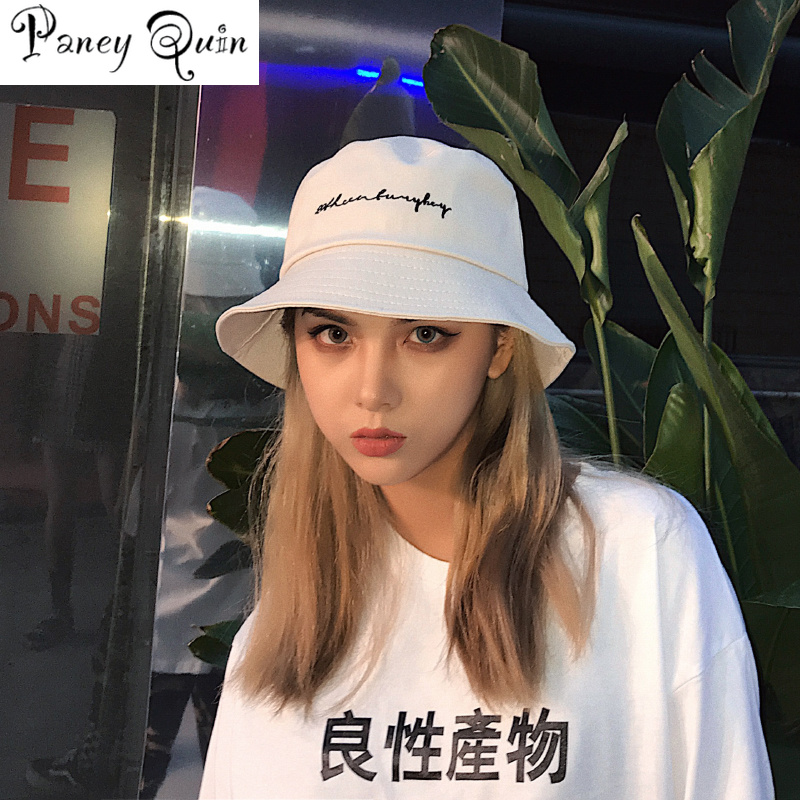 Men Women Bucket Hats Japan And Korea Street Style Harajuku Letters Print Streamers Lace Up Cap Ladies Summer Sun Hat