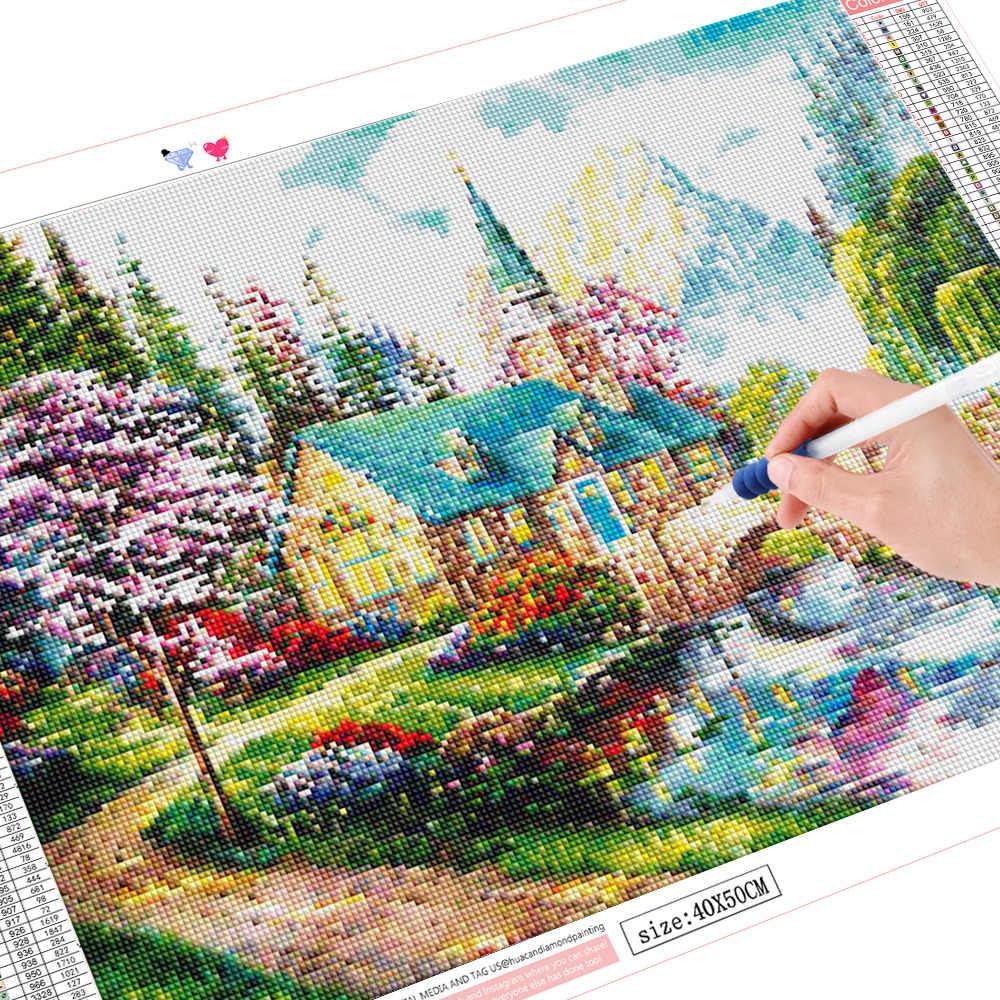 HUACAN 5D Pittura Diamante Casa di Paesaggio di Paesaggio Del Ricamo Mosaico Della Decorazione Della Casa del Regalo Fatto A Mano