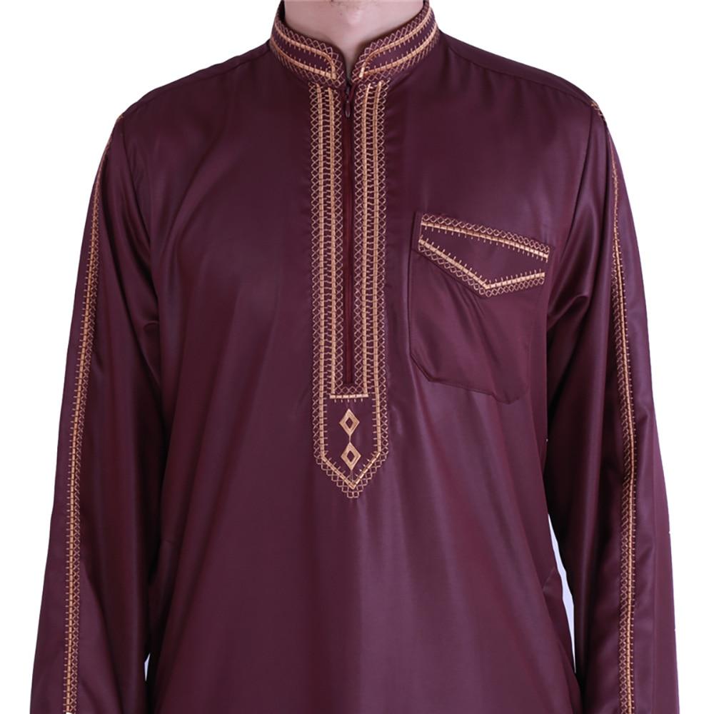 Zip Front Jubba Thobe Kaftan Dress For Men Nigerian Style Islamic Muslim Fashion Shiny Material Embroidery Qamis Man Djellaba 5