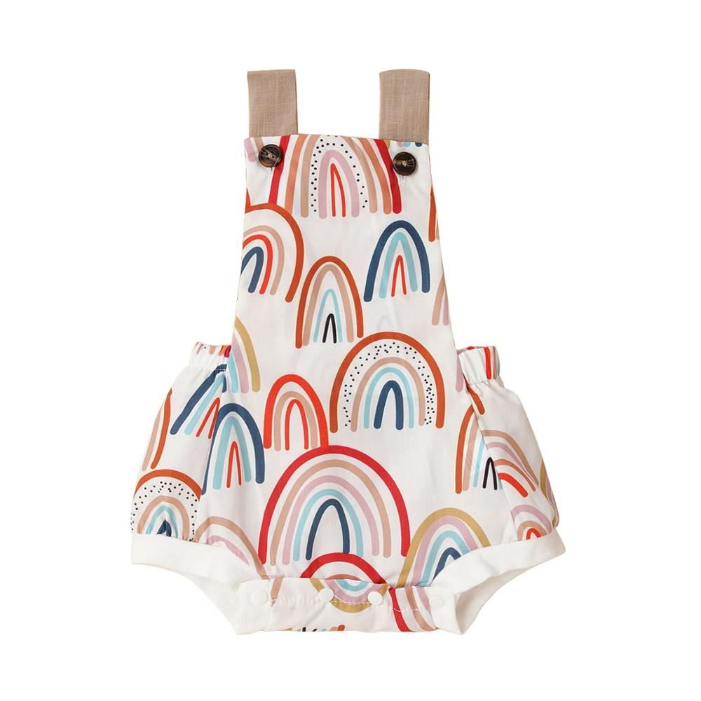 Summer Baby Girl Clothes 0-12M Sleeveless Backless Rainbow Printed Playsuit Cotton Bodysuits Cute Outfits