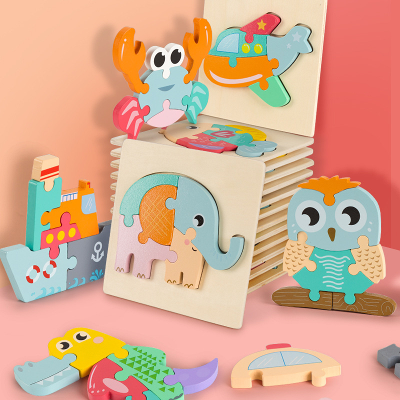 Cartoon Colorful Animal Traffic Wooden 3D Puzzle Kid Early Educational Brain Teaser Tangram Development Toys For Children Jigsaw