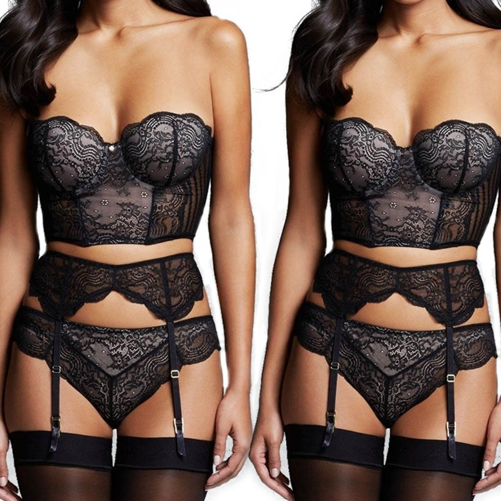 Lace Sexy Lingerie Porno Set Wireless Bra With Garter Belt Erotic Babydoll G-String Sexy Underwear For Women Costumes Plus Size