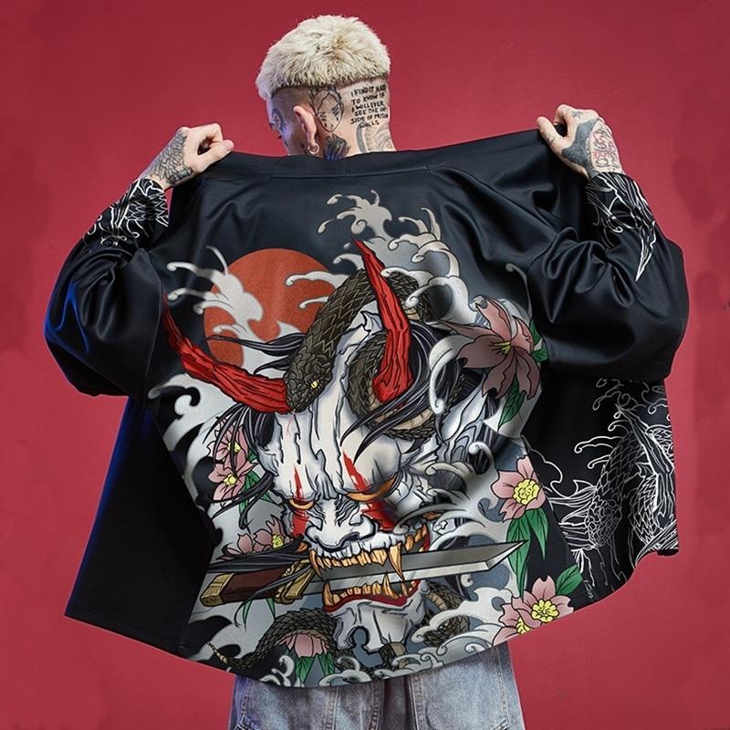 Samurai Costume Streetwear Jacket Cardigan Japanese Yukata Male Kimono Man Haori Obi