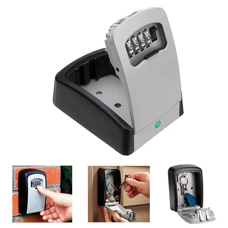 4 Digit Combination Key Storage Lock Box Key Lock Box Wall Mounted Aluminum Alloy Key Safe Storage Weatherproof Box