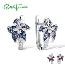 SANTUZZA เงินต่างหูผู้หญิง PURE 925 Sterling Silver Blue Star ดอกไม้ Cubic Zirconia серьги женские แฟชั่นเครื่องประดับ