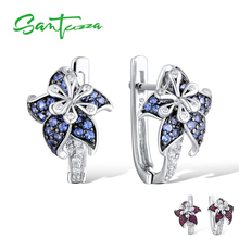 SANTUZZA gümüş küpe kadın için saf 925 ayar gümüş mavi yıldız çiçek kübik zirkonya серьги женские moda takı