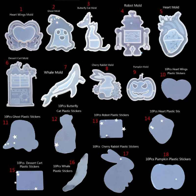Cá Voi Mèo Trái Tim Ma QuickSand Mặt Dây Chuyền Aepoxy Nhựa Khuôn Silicon DIY Trang Sức Bộ Dụng Cụ