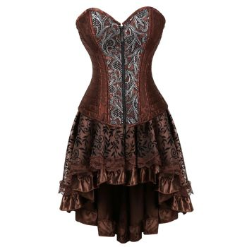 Women Steampunk Floral Lace Corset Dress Vintage Gothic Overbust Corset Bustier Lingerie Top With Asymmetrical Skirt Set Brown