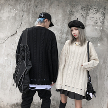Harajuku Twist Pattern Hole Men and Women Sweater Oversize Solid Loose Casaco Masculino Sweaters Pull Homme Streetwear Clothers