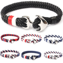 Navy Style Silver/Black Alloy Anchor Bracelet Multilayer Rope Chain Paracord Bracelet For Women Men vintage cross anchor sweater chain for women