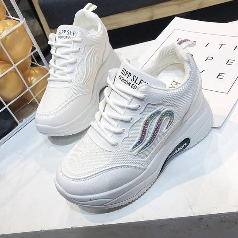 Белые женские кроссовки; модная обувь на толстой подошве; женские кроссовки на платформе; повседневная обувь; Zapatos De Mujer; кроссовки на