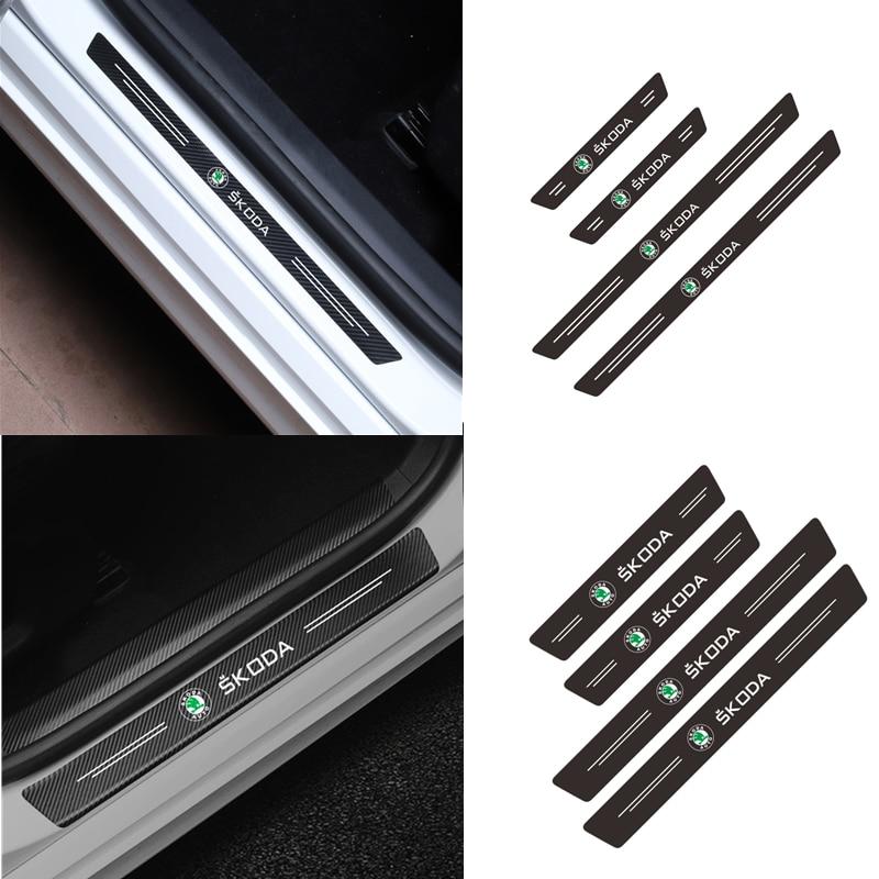 Estilo do carro 4 pçs porta limiar de fibra carbono placa scuff adesivo para skoda octavia fabia yeti rápido kodiaq superb