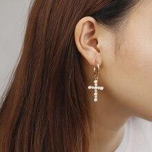 Fashion Trendy Cross Pendant Drop Earrings For Women White Imitation Pearl Baroque Bohemia Large Long Jewelry Brincos