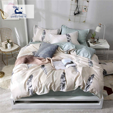Liv-Esthete Fashion Feather Bedding Set Printed Soft Duvet Cover Pillowcase Blue Bed Linen Flat Sheet Or Fitted Wholesale