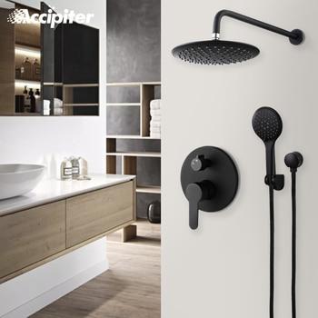 Black Bath Shower Set with 10 Inch Shower Head Wall Mounted Shower System Shower Set Diverter Mixer black bronze rain shower set retro american wall shower set xt310