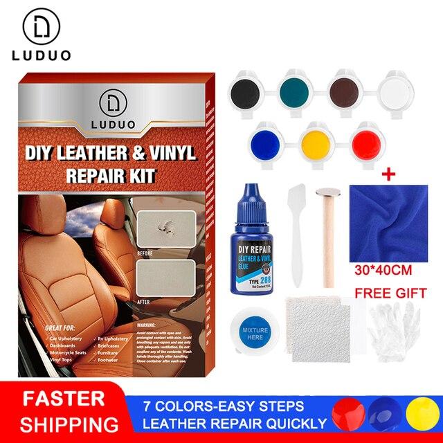 LUDUO DIY Набор для ремонта жидкой кожи, виниловая мебель, краска для автомобильных сидений, диван, обувь, куртка, восстанавливающая кожу, восстанавливающая ткань