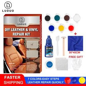 Image 1 - LUDUO bricolage Kit de réparation en cuir liquide meubles en vinyle peinture sièges de voiture canapé chaussures veste peau restaurer nettoyant remettre à neuf avec tissu