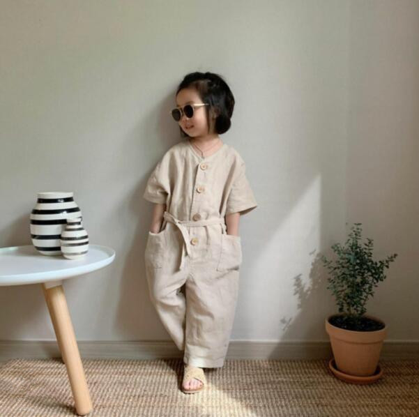 3303 2020 Spring And Summer Boys And Girls Linen Breathable Pocket V-button Short Sleeve One-piece Overall Kids Pants
