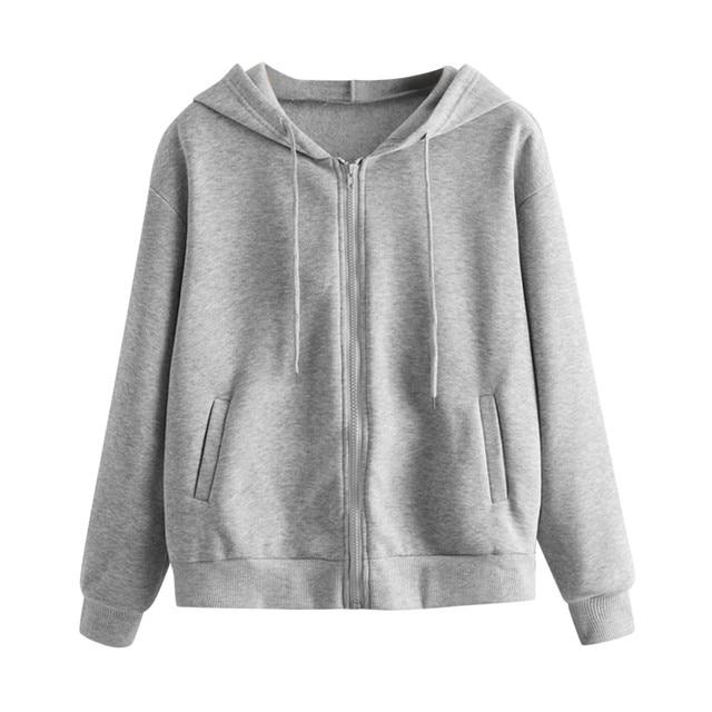 Lose Weight White Women Casual Solid Long Sleeve Zipper Pocket Shirt Hooded Sweatshirt Tops Hoodies Women Ropa Mujer 4