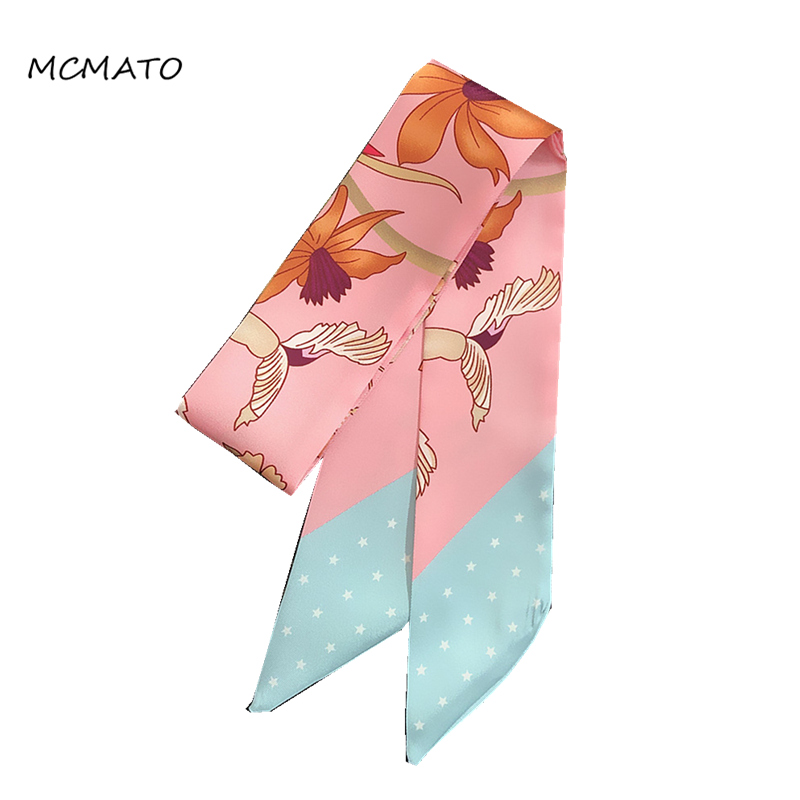 2020 New Design Floral Five-star Print Woman Twilly Silk Scarf 88cm*5cm Long Small Head Scarf Bag Ribbons Fashion Ladies Tie