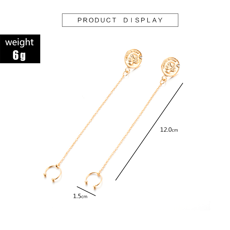 Crazy Feng Vintage Long Tassel Ear Line Drop Dangle Earrings for Women Handmade Simple Series Brincos 2019 Party Jewelry in Drop Earrings from Jewelry Accessories