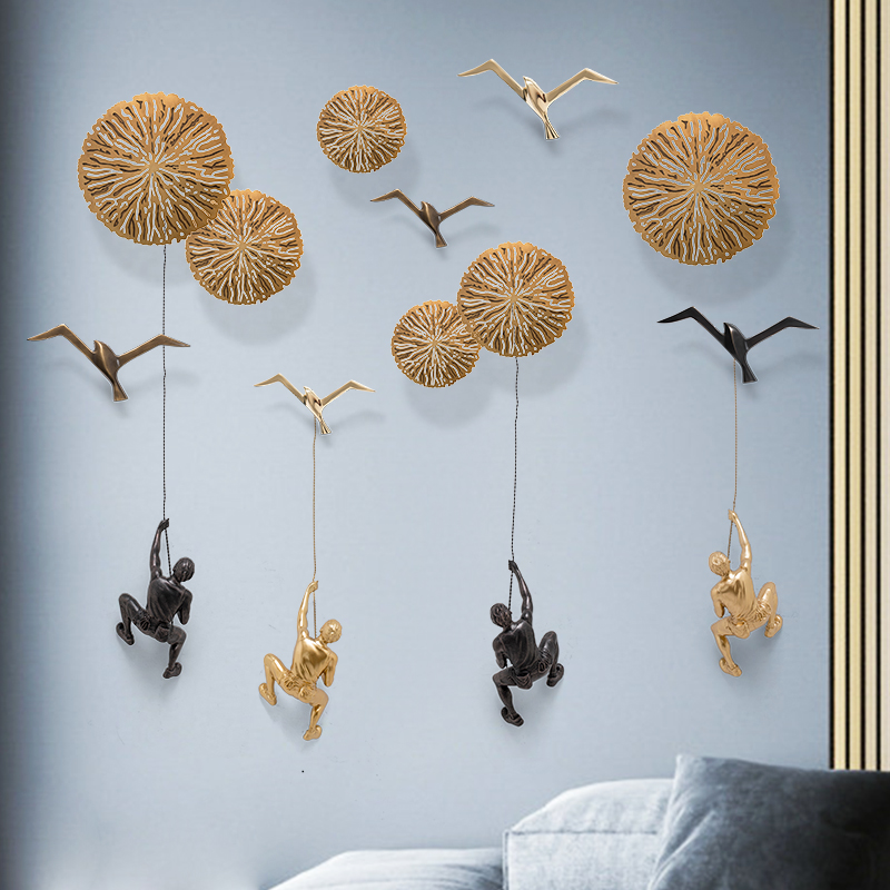 Creative Wall Decorations Rock Climbing Men Brass Seagull Sculpture Sportsman Figurine Ornaments Office Home Decor