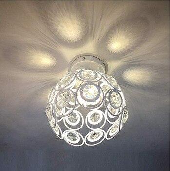 フレンチスタイルホワイト金属ケージ E27 天井ランプ天井のリビングルームのシャンデリアクリスタル廊下ロフト