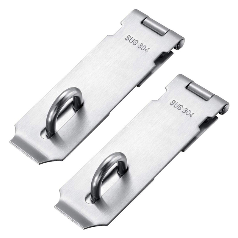 Padlock Hasp Staple 2 Pack Heavy Duty Safety Door Clasp Gate Lock Latch,SUS304 Stainless Steel Brushed Finish Padlock Clasp Shed