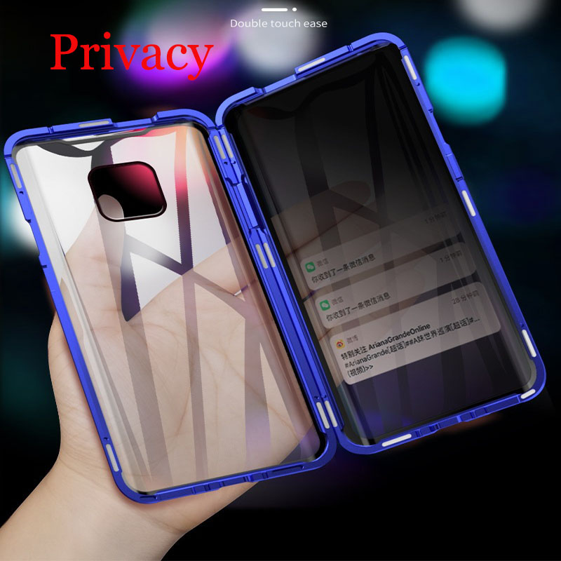 Privacy Magnetic Case For Huawei P30 P20 Pro Mate 20 Mate 30 Metal Anti-Peeping Cover For Honor 20 Pro 20i 8X Case Cover
