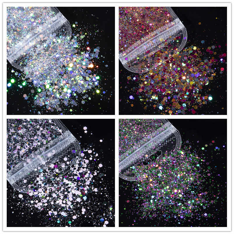 1กระเป๋าผสมเล็บGlitterผงSequins Shine Chrome Pigment Powder Flakesเล็บAccesoiresตกแต่งสำหรับเล็บออกแบบ