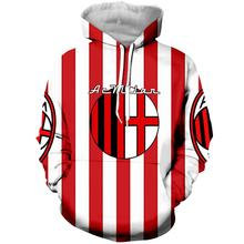 цена LBG 3D printing AC Milan hoodie men and women fashion casual hoodie AC Milan men's sports shirt Harajuku football uniform. онлайн в 2017 году