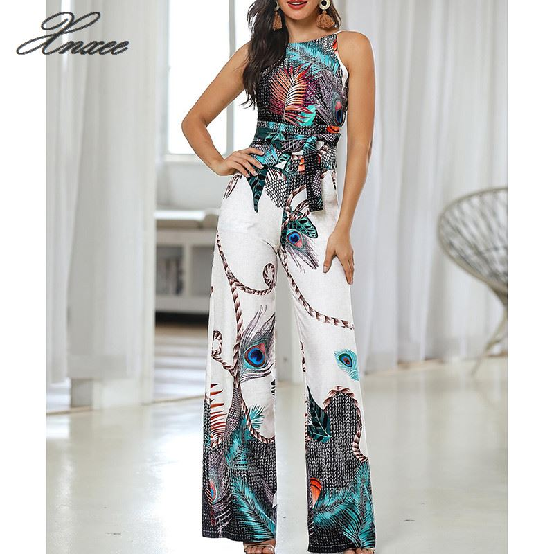 Xnxee   Jumpsuit   with strap peacock print for women summer 2019 wide leg pants   jumpsuit   long   jumpsuit   Casual Women