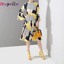 New 2019 Autumn Women Dress Striped Fashion Women's Pleated Dress Long Sleeve Cotton Dress Female Stand Collar Loose Lady Dress все цены