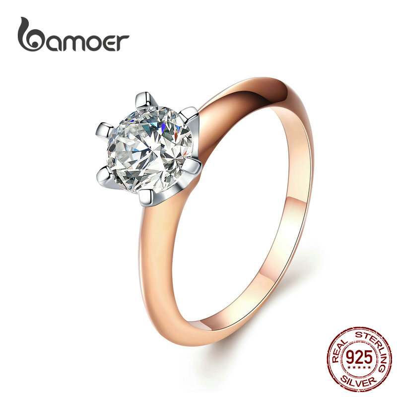 BAMOER Engagement Finger Ring For Women Big Stone Clear Zirconia Rings Crystal Statement Fine Jewelry Female Gifts SCR525