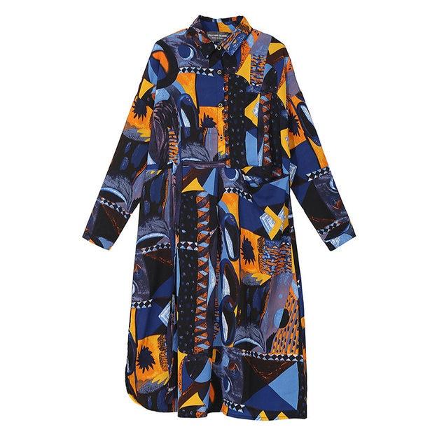 [EAM] 2019 New Autumn Winter Lapel Long Sleeve Blue Pattern Prited Loose Large Size Pocket Dress Women Fashion Tide JI485 37