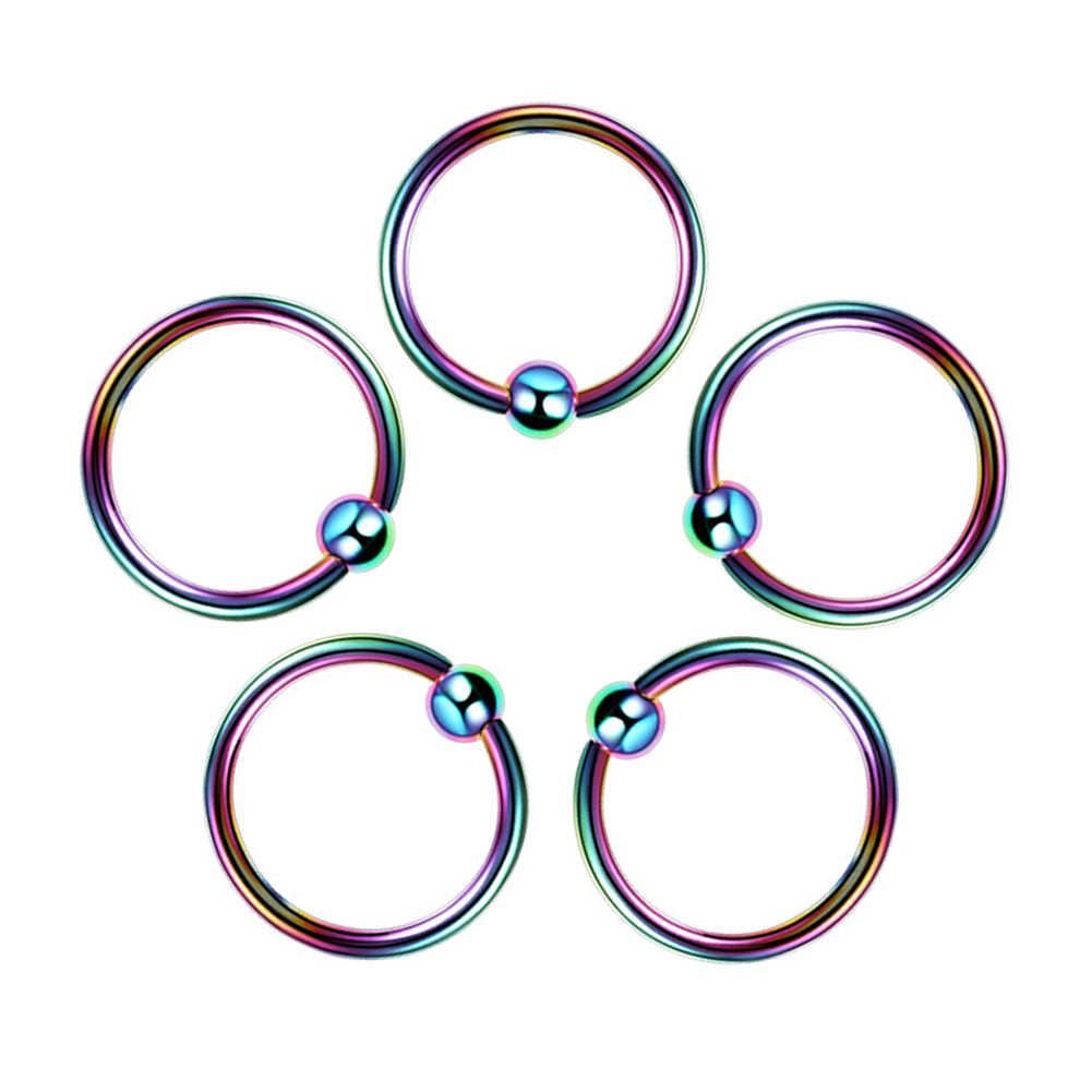 1 Pza G23 titanio ópalo oreja y tabique Piercing nariz anillo gema bola Piercings helicoidal trago Labret anillos Piercings joyería del cuerpo