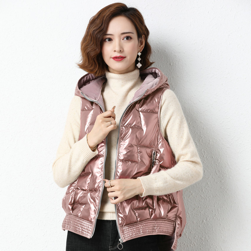 Купить модный зимний пуховый жилет с капюшоном для женщин толстый теплый