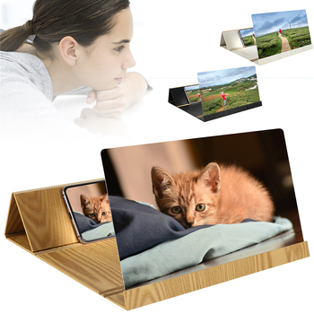 12 Inch Desktop Folding Wood Bracket Mobile Phone Screen Magnifier 3D HD Video Amplifier Holder Mobile Phone Stand