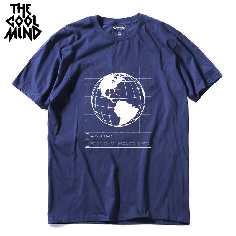 COOLMIND 100% cotton o-neck loose summer golbal earth pritn men T shirt casual cool men tshirt male t-shirt tops tee shirts