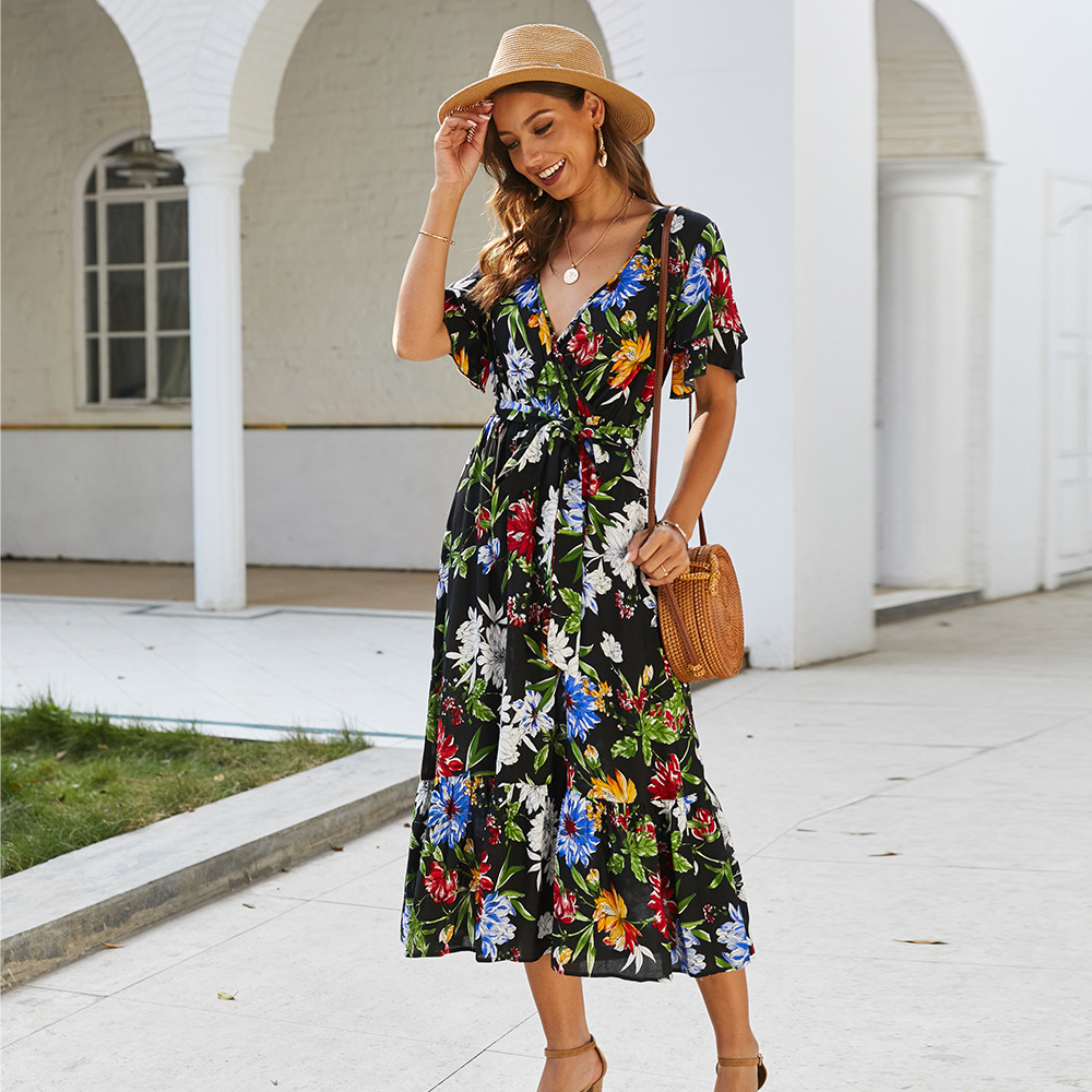 2020 Spring <font><b>Sexy</b></font> <font><b>V</b></font>-Neck Women <font><b>Dress</b></font> <font><b>Floral</b></font> <font><b>Print</b></font> High Waist Belt Summer <font><b>Dresses</b></font> Female <font><b>Short</b></font> Sleeve <font><b>Boho</b></font> <font><b>Beach</b></font> Sundress Ladies image