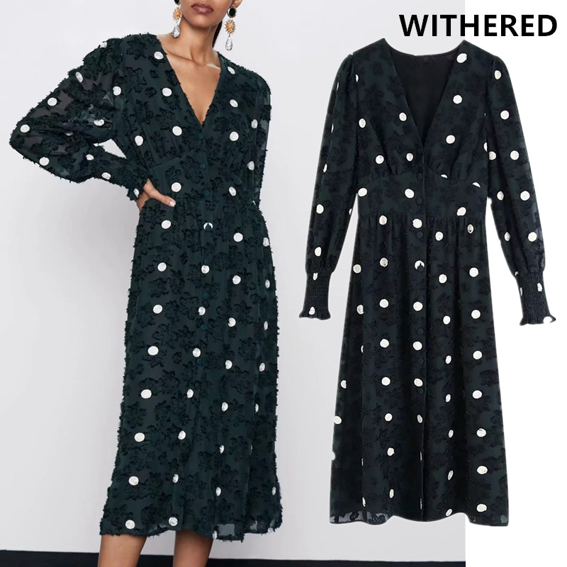 Withered England Elegant Vintage Texture Polka Dot Sexy Party Dress Women Vestidos Vestidos De Fiesta De Noche Maxi Dress Blazer