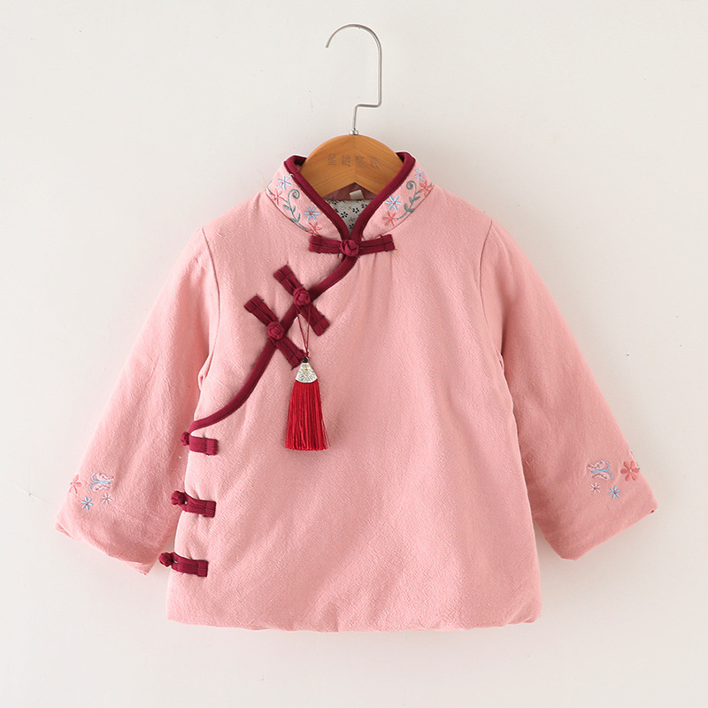 Ethnic-Style Childrenswear Fall And Winter Clothes Children Chinese Clothing Chinese Costume Plus Cotton Coat Girls Cheongsam Co