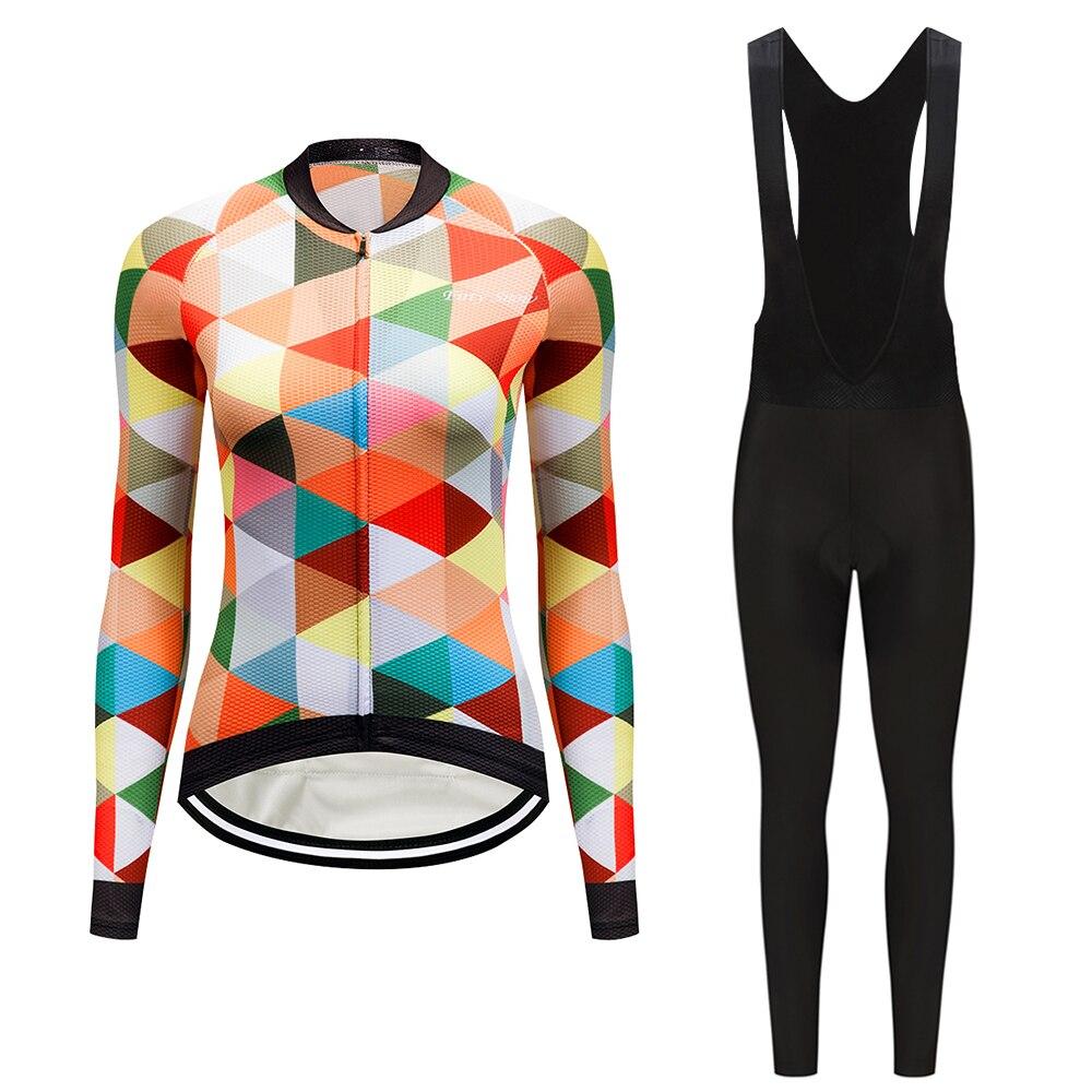Women's Long Sleeve Cycling Jersey Set 2019 Bicycle Clothing Kit Mtb Bike Dress Maillot Wear Sport Uniform Suit Teleyi Clothes