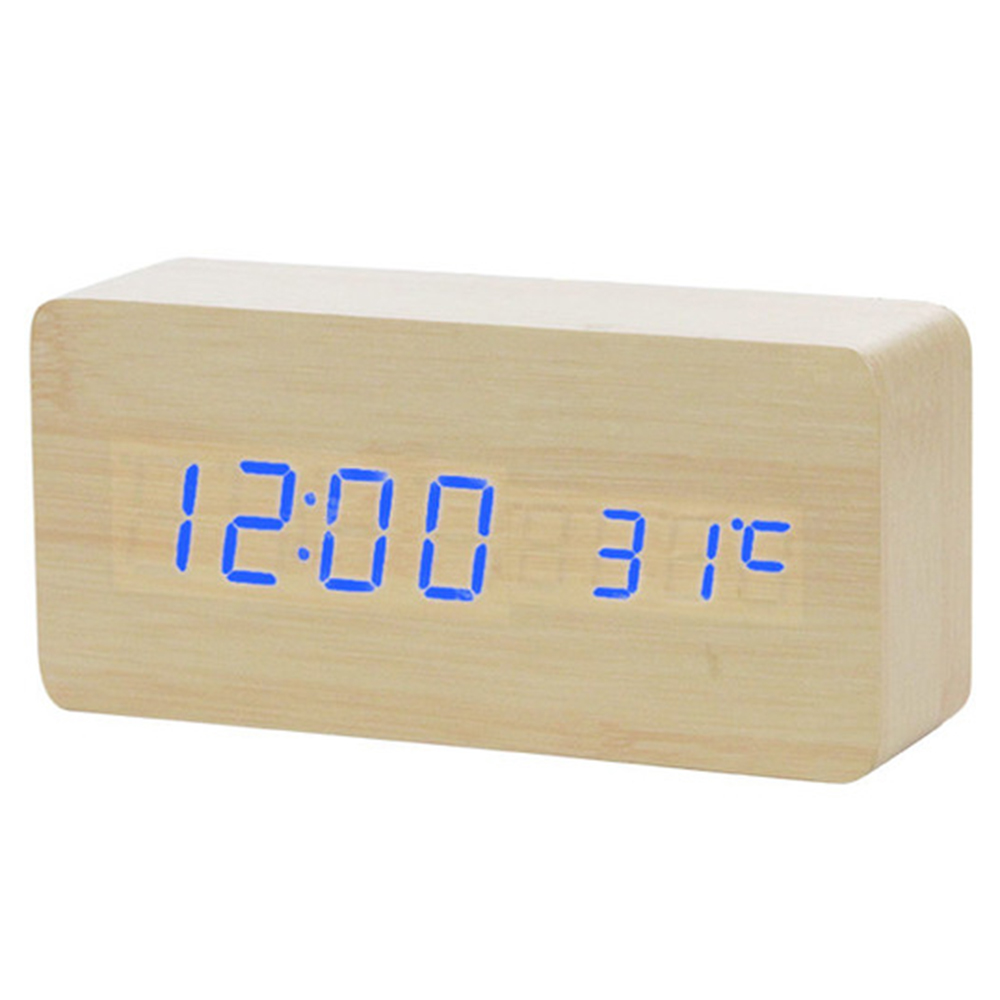 2019 New Voice Control LED Alarm Clock , Digital Thermometer Wooden Backlight Wood Retro Glow Clock Table Luminous Alarm Clocks image