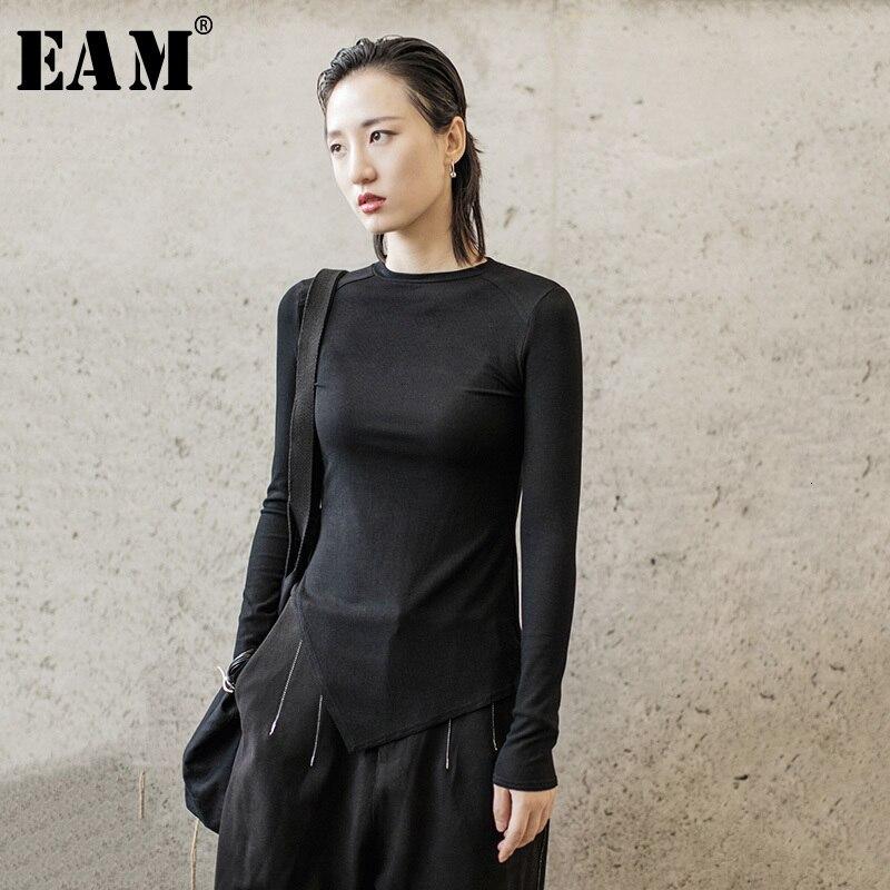 [EAM] Women Burr Split Joint Asymmetrical Temperament T-shirt New Round Neck Long Sleeve  Fashion Tide  Spring Autumn 2020 1H312