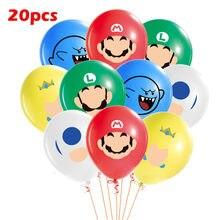 10-20 pçs super mario balões conjunto 12 polegada látex balões para crianças festa de aniversário decoração balões conjunto