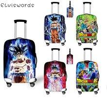 Защитный чехол ELVISWORDS Son Goku Dragon Ball с принтами для багажа, набор с биркой, аксессуары для путешествий, пылезащитный эластичный чехол для чемодана