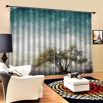 High quality custom 3d curtain fabric Vintage oil painting tree Curtains Decoration European 3D Curtain For Living room Blackout