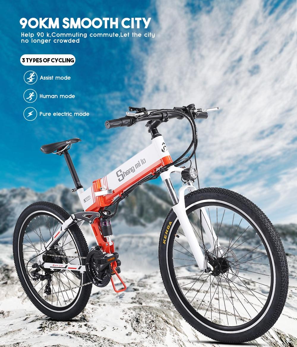 26 inch folding electric bike 48V ebike 10.4ah lithium battery 500w Electric bicycle Integriertes snow bike